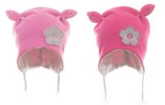 Čepice kojenecká zavazovací 2rohá s kytičkou MKCool