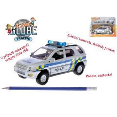 Auto policie kov 13cm česky mluvící na zpětné natažení na baterie se světlem