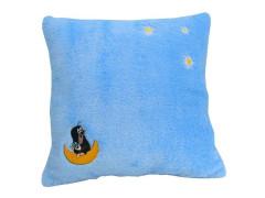 Krtek polštář s výšivkou sv. modrý hvězdy