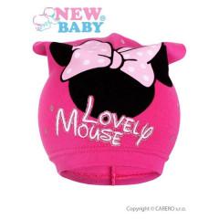 Jarní dětská čepička New Baby Lovely Mouse vel. 104 TMAVĚ RŮŽOVÁ