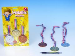 Medaile plast 6cm asst 3 barvy 3ks na kartě
