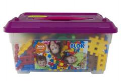 Stavebnice Blok plast 272 dílků + 8 koleček v plastovém boxu