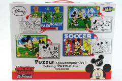Puzzle Mickey 45 dílků  4 v 1 vybarvovací