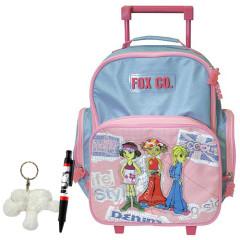 Školní batoh Cool trolley set - 3-dílná sada - modrorůžový
