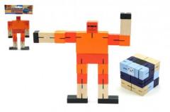 Kostka hlavolam robot dřevo 6cm v sáčku
