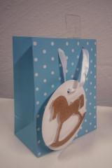 Dárková taška mini puntíky modrá 13,5 x 11 cm Albi