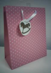 Dárková taška puntíky růžová 23 x 18 cm Alb