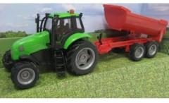 Traktor s vlečkou na setrvačník se zvukem a světlem, kov ČERVENÁ VLEČKA
