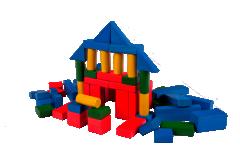 Kostky dřevěné barevné 50 ks