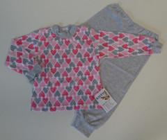 Bavlněné pyžamo srdíčka růžovo-šedé vel. 122