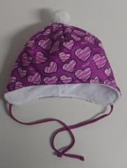 Zimní zavazovací čepice srdce fialová vel. 3 (48-50 cm)