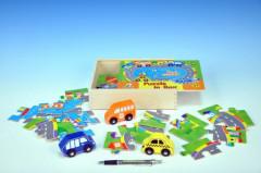 Puzzle Doprava dřevěné 24 dílků + 3 auta v dřevěné krabičce