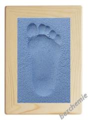 Otisk nožičky v písku s rámečkem modrý