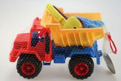 Auto na písek s výklopnou korbou, lopatkou, hrabičkami a bábovkami