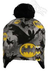 Zimní chlapecká čepice na uši s bambulkou Batman RDX