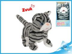 Kočka plyšová 15,5cm chodící a běžící na baterie se zvukem