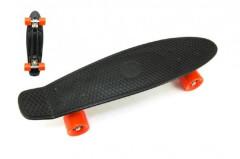 Skateboard - pennyboard 60cm, nosnost 90kg, kovové osy, černá barva, oranžová kola