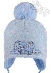 Zimní zavazovací čepice s bambulkou a medvědem sv. modrá RDX