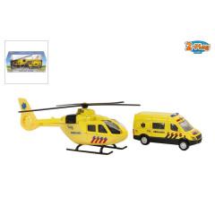 Záchranářský set helikoptéra 16cm + sanitka 8cm
