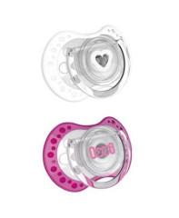 Šidítko silikonové dynamické LOVI Spark 2ks 3 - 6 m,Bílá + růžová