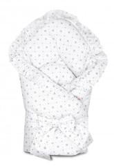 Rychlozavinovačka s volánkem a stuhou 80 x 80 cm Baby Nellys - Kárko světle šedé na bílé