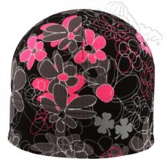 Funkční reflexní čepice s růžovými kytičkami černá RDX