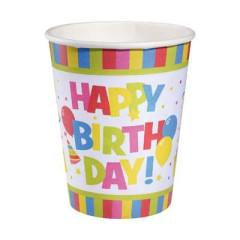 Party papírový pohárek 0,25l Happy Birthday 10ks