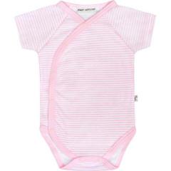 Bavlněné body krátký rukáv růžové proužky Baby Service Vel. 56