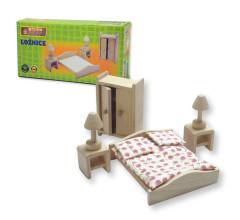 Dřevěný nábytek pro panenky - ložnice