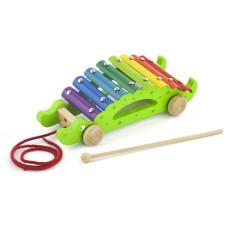 Dřevěný tahací xylofon - krokodýl Viga