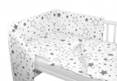 3-dílná sada mantinel s povlečením Šedé hvězdy a hvězdičky - bílý 135 x 100 cm