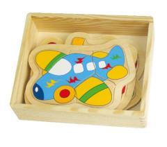 Dřevěné puzzle Doprava v krabičce