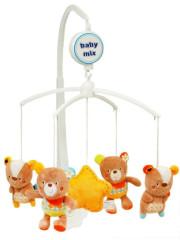 Kolotoč nad postýlku Baby Mix medvídci s kytičkou na oušku