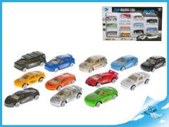Balení 12 ks kovových autíček volný chod 5 cm