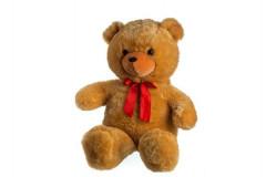 Medvěd plyš 100cm s mašlí světle hnědý hladký 0+