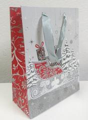 Dárková taška vánoční s glitry 26x32 cm SÁNĚ