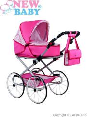 Dětský Retro kočárek pro panenky 2v1 New Baby Natálka růžový