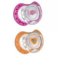 Šidítko silikonové dynamické LOVI Spark 2ks 3 - 6 m, oranžová + růžová