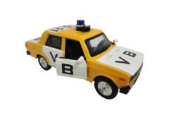 Auto veterán policie VB Lada 2106 1:32 kov 12cm na baterie se světlem se zvukem