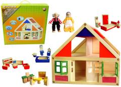 Dřevěný domeček s nábytkem, 38x22x35,5cm