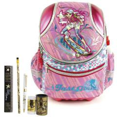 Školní batoh Cool set - 6dílná sada - batoh COOL skateboard + škoolní pomůcky Hollywood