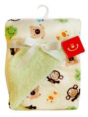 Dětská deka z mikrovlákna opičky sv.zelená-smetanová 76x102 cm Bobobaby