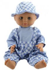 Panenka miminko chlapeček 40 cm Sv. modré kalhoty + klobouček