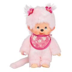 Plyš Monchhichi Holka s růžovým bryndákem 20 cm