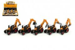 Traktor stavební kov/plast 15cm na zpětné natažení