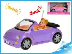 Auto kabriolet s panenkou se světlem a zvukem