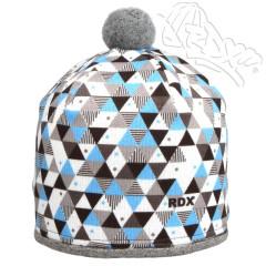 Zimní čepice s bambulkou trojúhelníky modré RDX