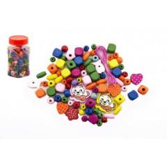 Korálky dřevěné barevné mix v plastové dóze 7x10 cm
