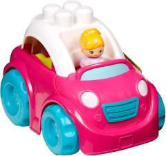 Mega Bloks First Builders vozidla pro malé stavitele - Růžové autíčko s holčičkou