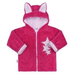 Zimní dětská mikina New Baby Ušáček TMAVĚ RŮŽOVÁ